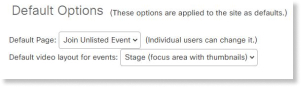 Default event's video layout setting